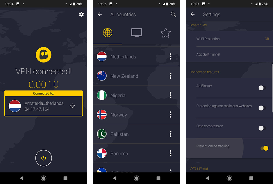 CyberGhost VPN Android interface