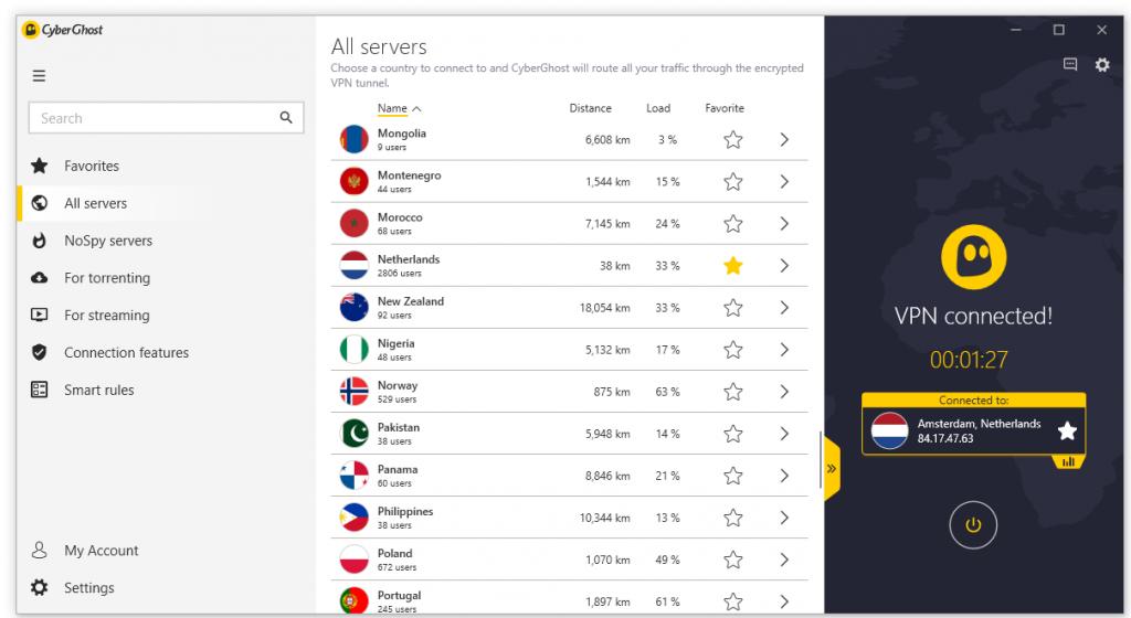 CyberGhost VPN Windows interface