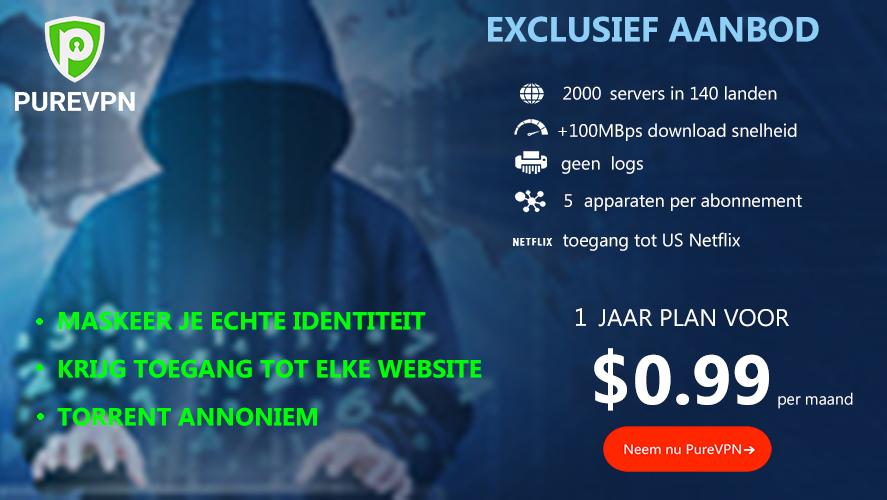 PureVPN 1 jaar abonnement voor $0.99 per maand
