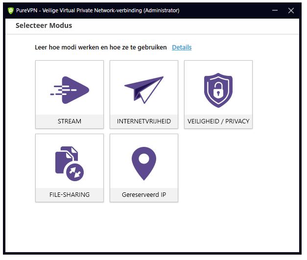 PureVPN Windows-applicatie