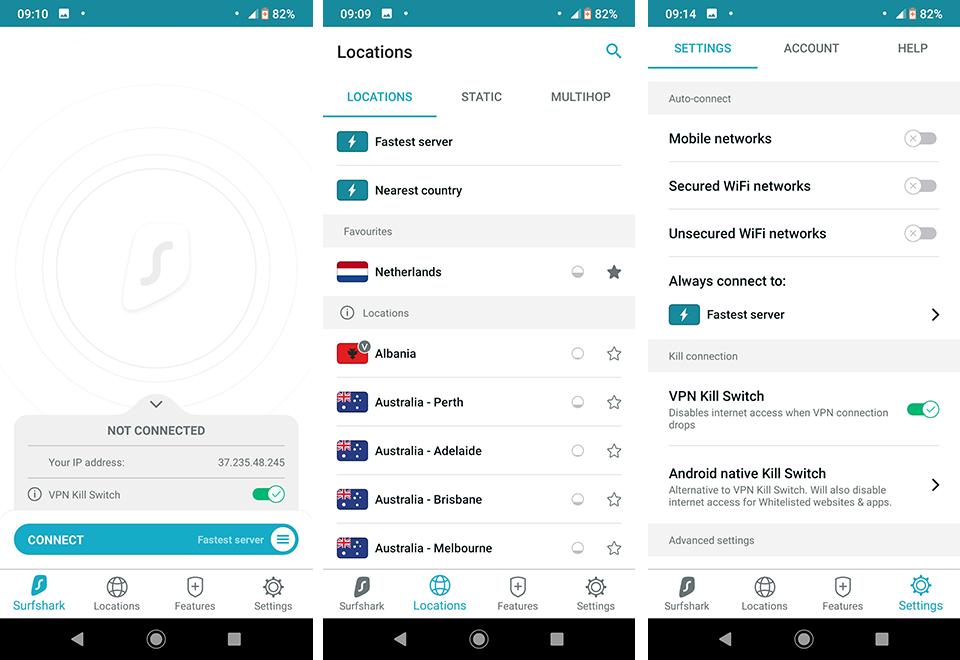 Surfshark VPN Android interface