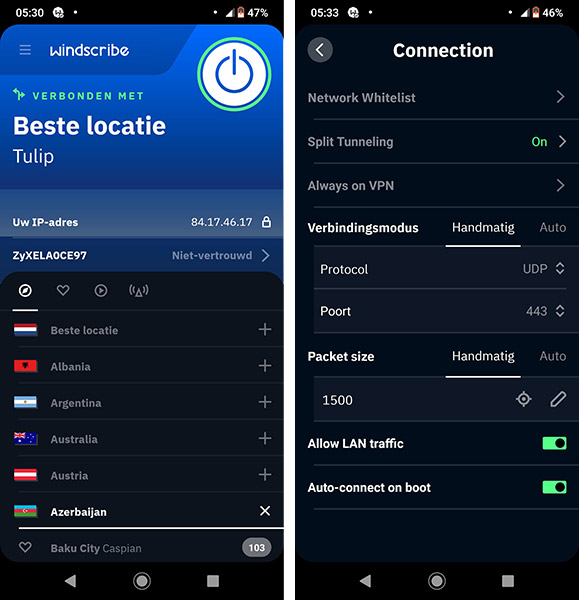 Windscribe VPN Android interface