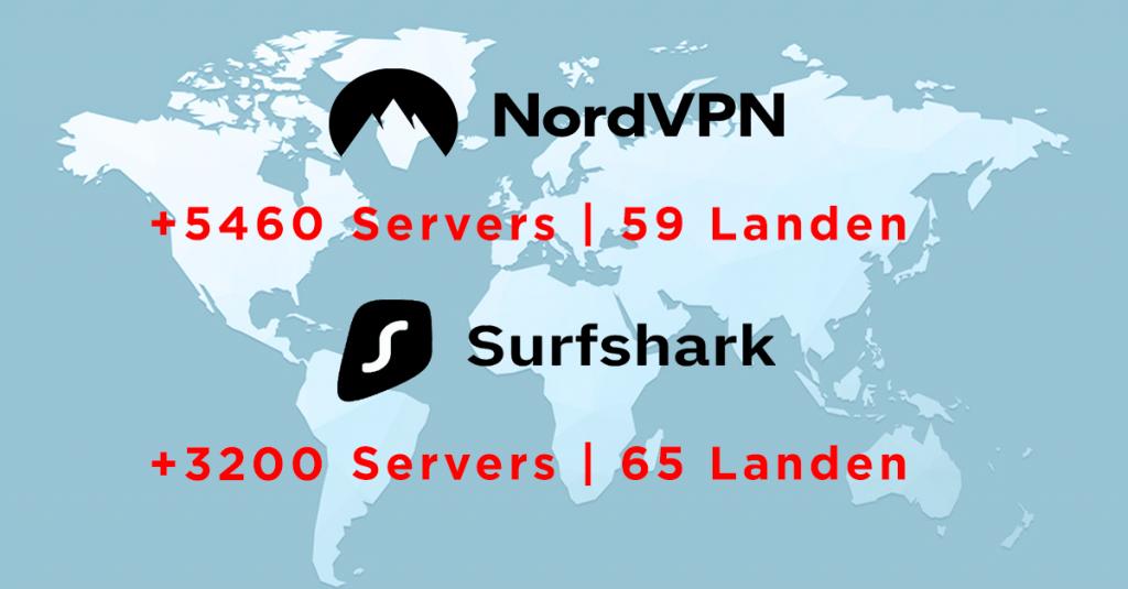NordVPN vs Surfshark - servers