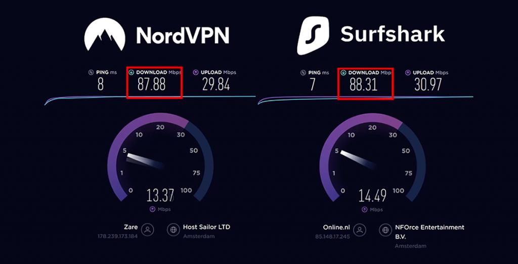 NordVPN vs Surfshark VPN - snelheid