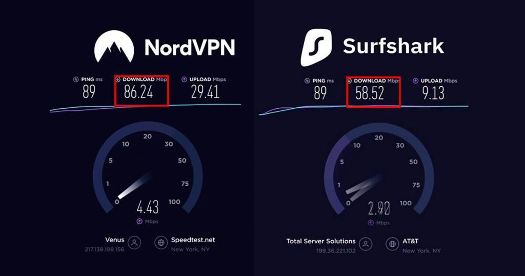 NordVPN vs Surfshark snelheid in Amerika